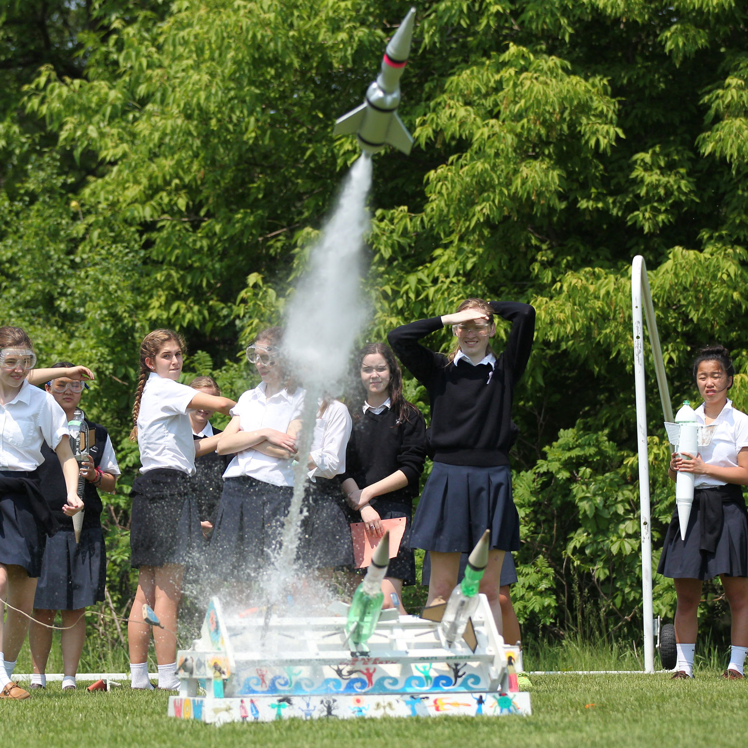 Upper School students launching rockets