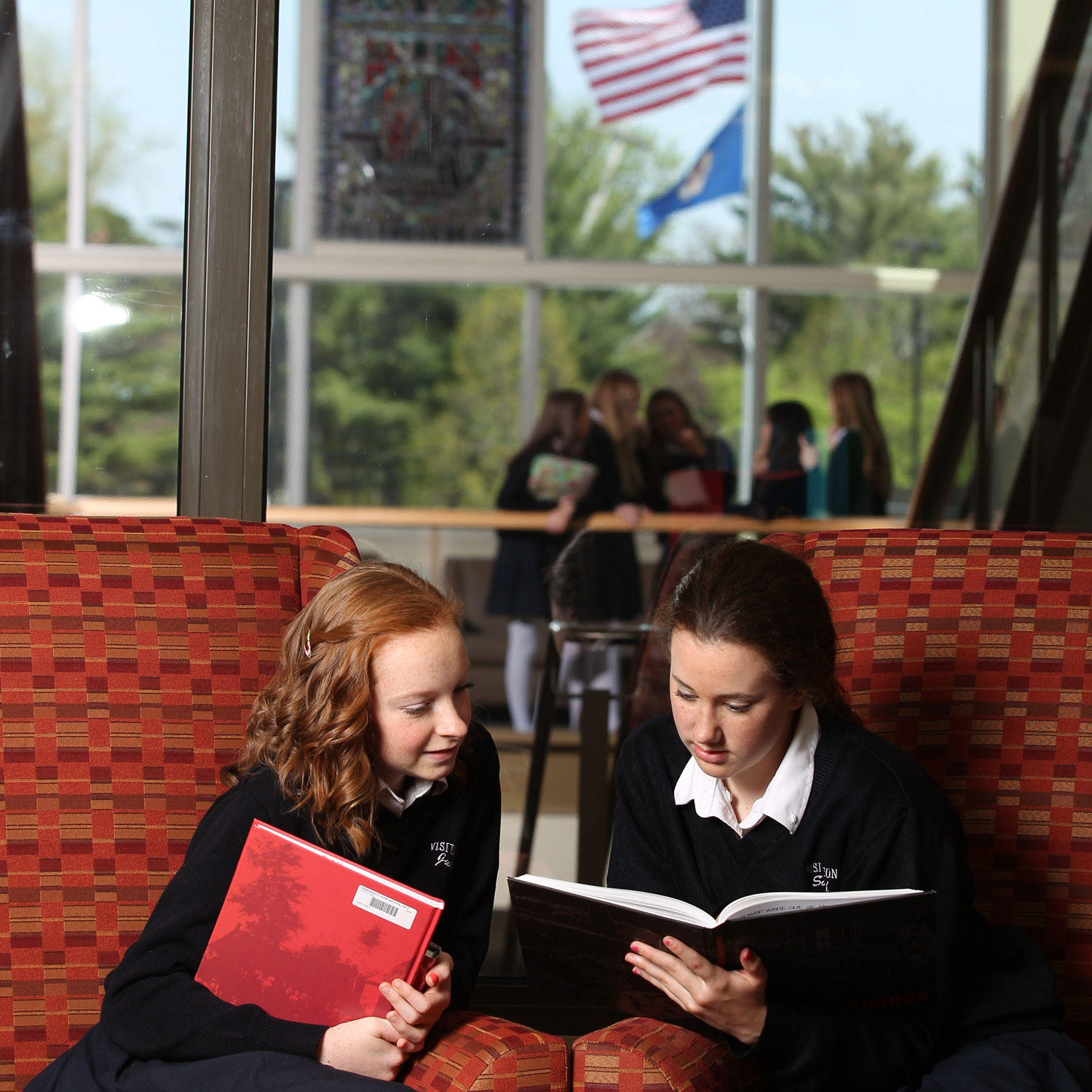 Upper School students in library