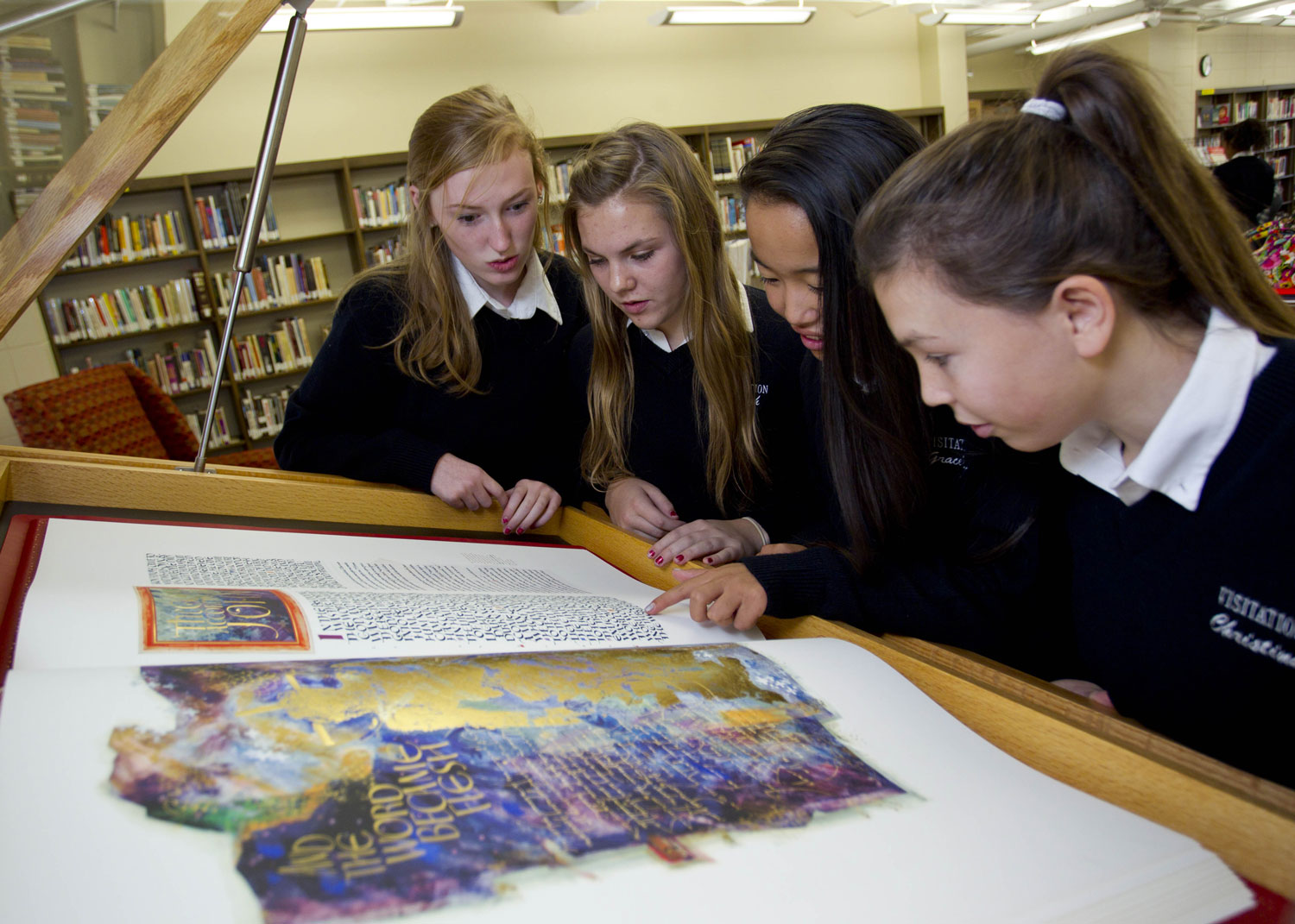 Students viewing the St. John's Bible