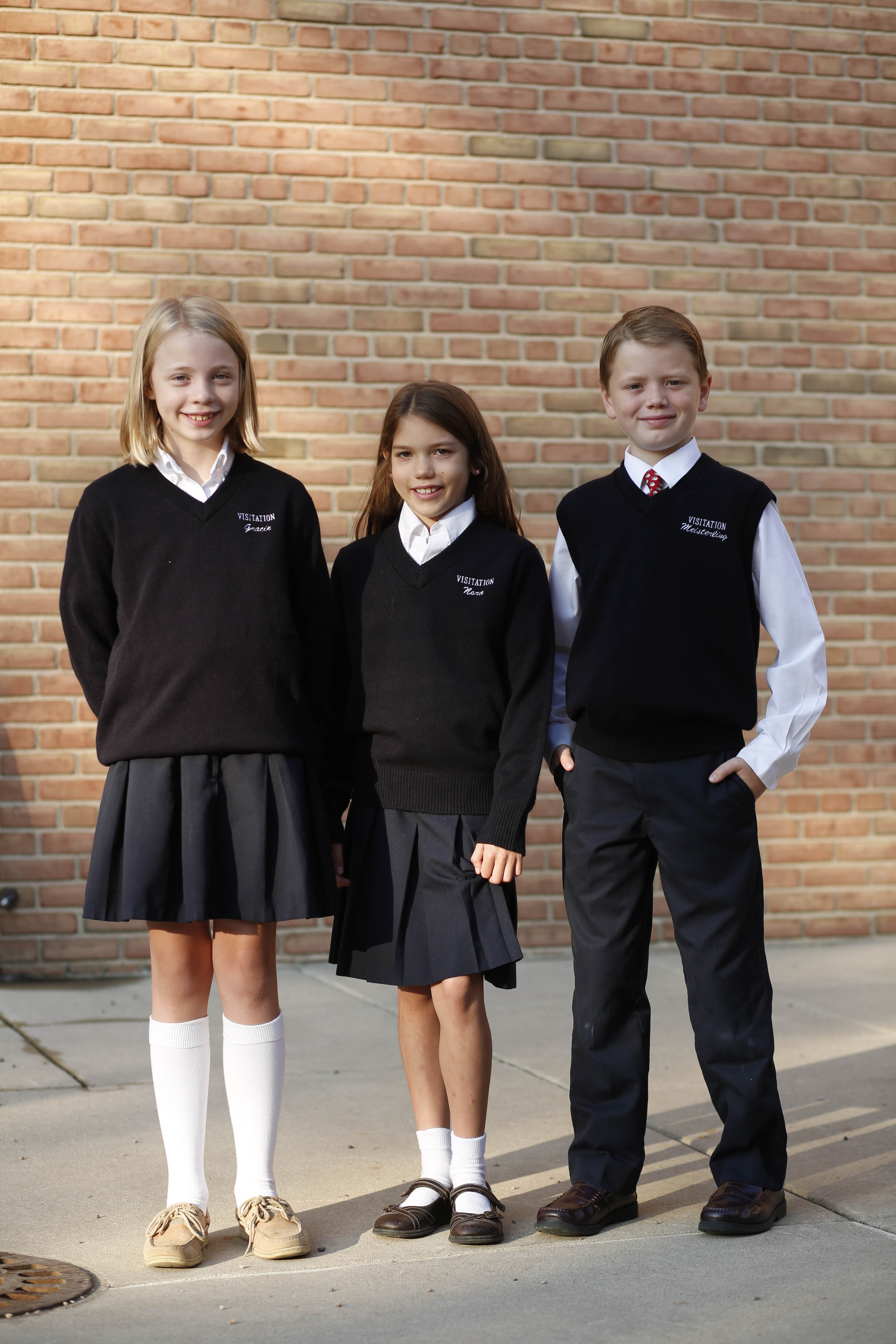 School Uniform Cardigan Knitted Button Down Black Navy School Uniform