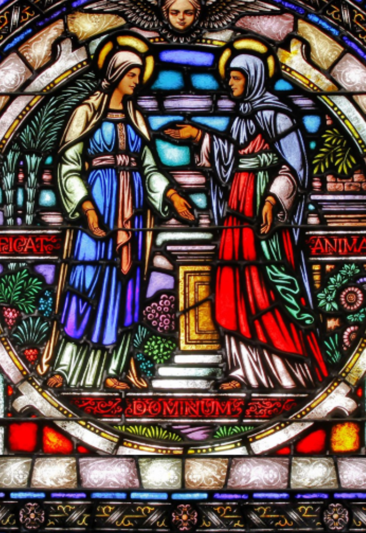 Stained Glass image of the Visitation