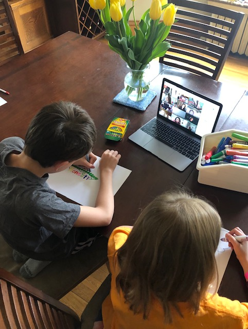 Students Distance Learning at table